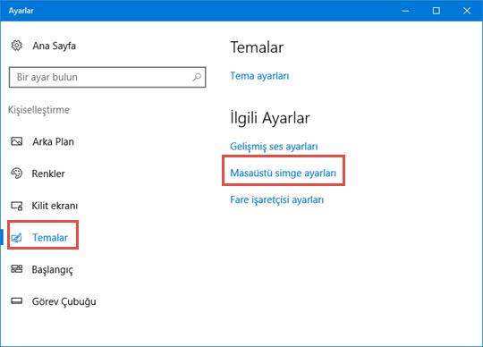 windows 10 masaüstü bilgisayarım simgesi eklemek