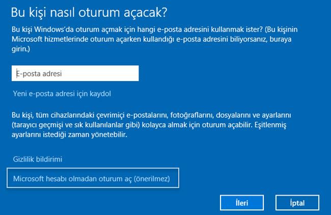 windows 10 yeni kullanıcı