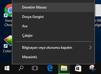 windows 10 denetim masasını açma