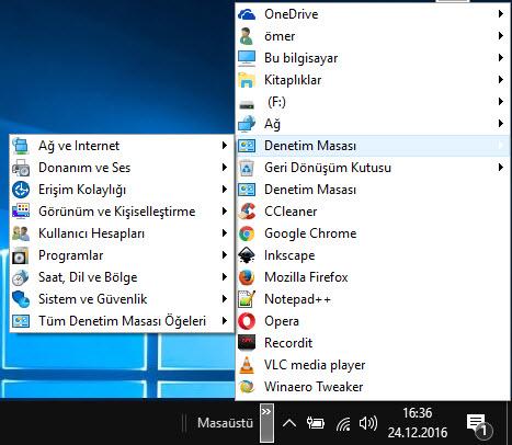 windows 10 denetim masasına giriş