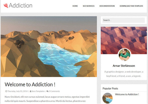 addiction blogger theme