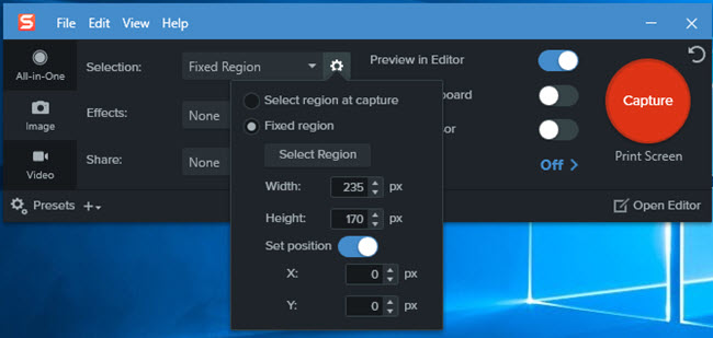 snagit fixed region