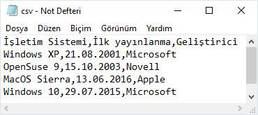 csv dosyası not defteri