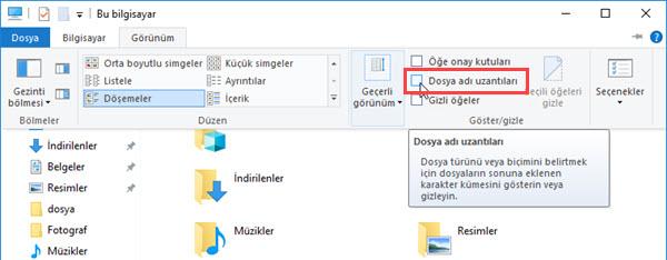 windows 10 dosya adı uzantıları gösterme
