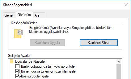 windows 10 dosya uzantıları gösterme gizleme