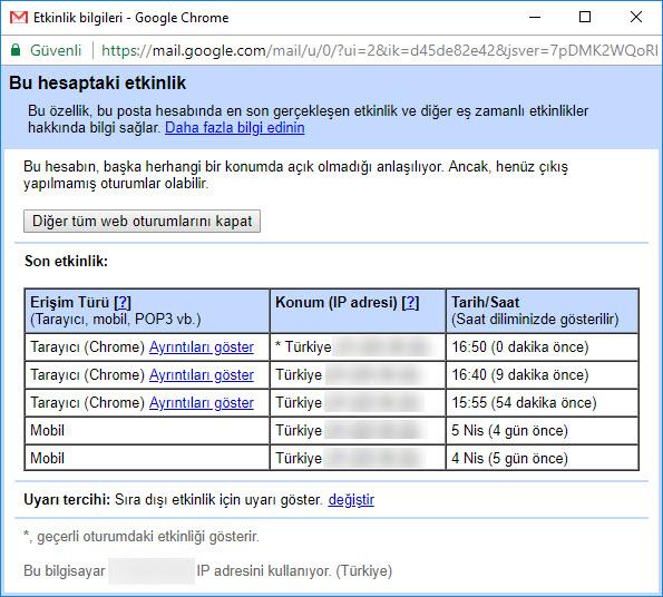 gmail google tüm web oturumlarını kapat