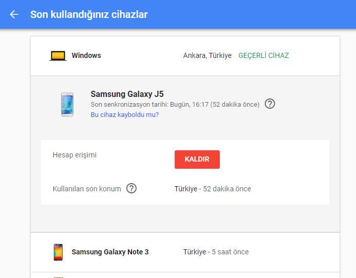 gmail android diğer telefonlardan çıkış yapma