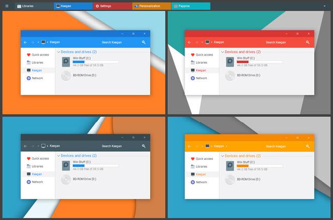 Papyros Farklı Renklerde Windows 10 Temaları