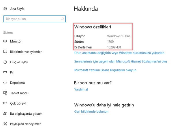 windows 10 hakkında - edisyon sürüm ve is derleme numaraları