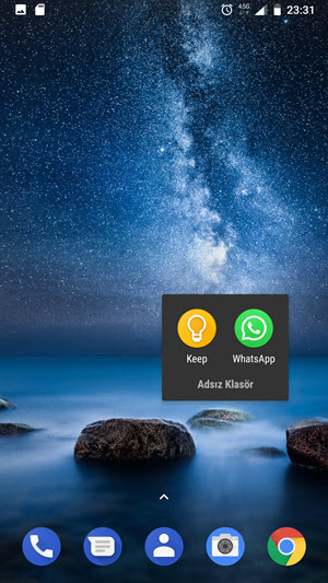 Android ve ios telefonda ana ekrana yeni klasör ekleme