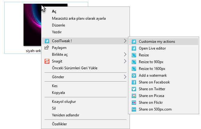 CoolTweak resim boyutlandırma programı
