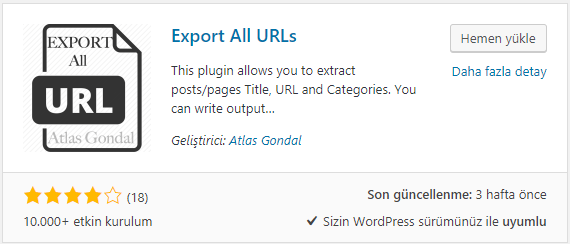 wordpress export all urls eklentisi