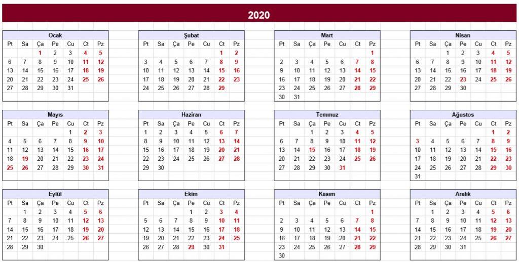 2020 takvimi