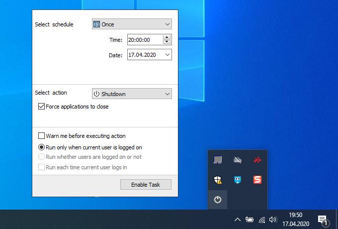 Airtec Switch Off bilgisayarı kapatma zamanlayıcısı