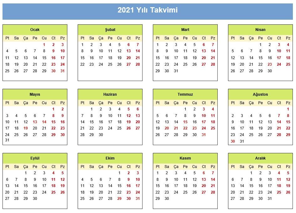2021 takvimi